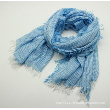 Lady Fashion Acrylic Knitted Spring Fringed Scarf (YKY1157)