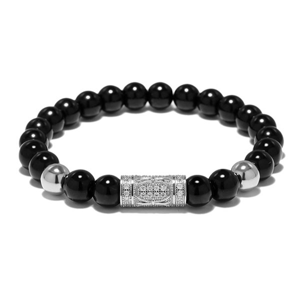 Black Agate With Top Grade Zircon Bead Bracelet