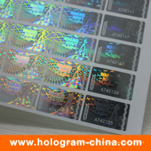 Anti-Falsificação 2D / 3D Transparente Serial Number Holograma Sticker