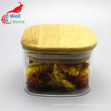 High quality Transparent Food Storage jar with Wooden Lid Storage-143RL