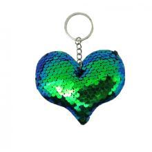 BLUE HEART SEQUIN KEY CHAIN-0