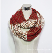 Lady Fashion Color Block Acrylic Knitted Winter Infinity Scarf (YKY4389)