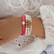 European and American Fashion Jewellery Jewelry Size Pearl Round Bead Beaded Bracelet Pearl Soft Ceramic Bracelet Set Bracelet for Women