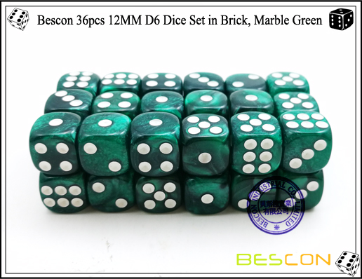 Bescon 36pcs 12MM D6 Dice Set in Brick, Marble Green-3
