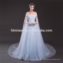 Luz azul elegante fora do ombro desgaste do partido senhoras plus size vestido padrões de vestido de noite do laço