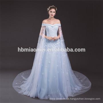 Elegantes hellblaues weg von der Schulter-Damen-Partei-Abnutzung plus Größen-Kleid-Mustern des Spitze-Abend-Kleides
