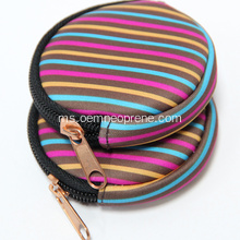 Pusingan Berbentuk Neoprene Zipper Lock Coin Purse
