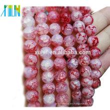 cristal cuarzo 10mm rojo redondo imitación cuentas de joyería de craquelado de jade
