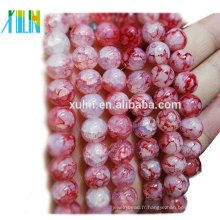 cristal quartz 10mm rouge rond imitation jade crépitement bijoux perles