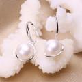 Pendiente de perla de alta calidad AAA 9-10mm botón de perla de plata 925 pendientes