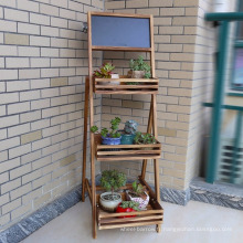 European Pastoral Solid Wood Small Chalkboard Garden Flower Shelf Stand