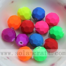 Round Faceted Decorative Acrylic Rubber Bead