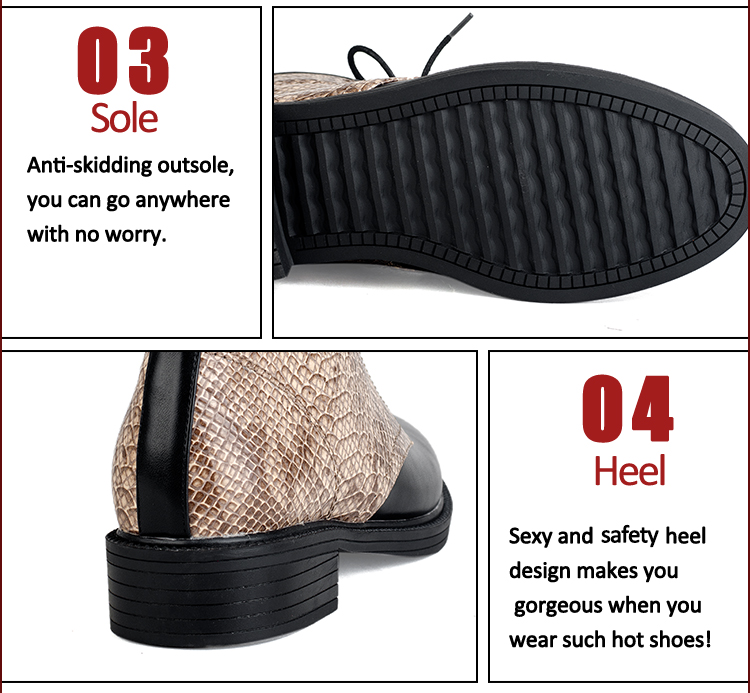 stylish serpentine leather flat lacing women shoes