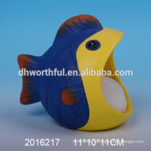 Soporte de esponja de cerámica con diseño de peces pequeños para cocina