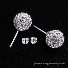Boucles d'oreilles en forme de 925 en argent sterling Shamballa, boucles d'oreilles BWE20