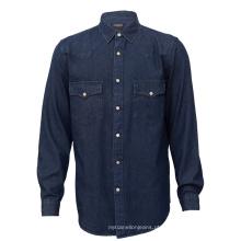 Camisa jeans masculina de algodão de alta qualidade