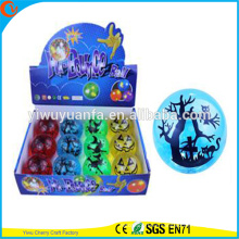 Novelty Design Kid's Toy 65mm Glitter LED Flashing Halloween Printed Light-up Hi Bouncing Ball