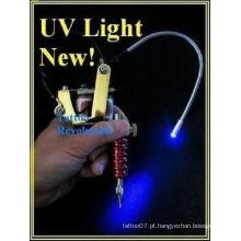 LED preto de tatuagem luz de trabalho UV Gun Mount Blacklight, luz UV LED para máquina de tatuagem fonte ajustável, luz UV
