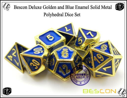 Bescon Deluxe Golden and Blue Enamel Solid Metal Polyhedral Role Playing RPG Game Dice Set (7 Die in Pack)-6