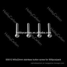 SS012 500 pçs / lote Venda Quente Hobby Carbono M3 * 22mm Botão Hex Aço Inoxidável Preço Parafuso