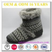 Hot vender inverno quente malha fuzzy botas chinelo interior para as mulheres