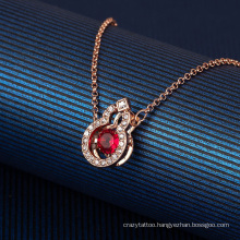 European American Fashion Jewellery Rose Gold Jewelry Blessing Gourd Diamond Red Crystal Zircon Smart Thin Chain Clavicle Chain Necklace for Women