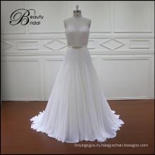 Линия бусины и кристаллы свадебное платье
