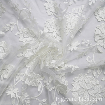 Dentelle de broderie blanche Africa Tulle Lace