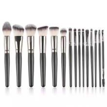 15pcs Luxury Professional Makeup Brushes Set Kits Cosmetic Black Wooden Private Label Logo Custom Makeup Brush Set