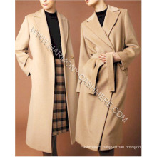 Women′s 100% Cashmere Long Coat with Button and Belt