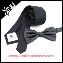 Cravate en coton noir, Cravates pré-attachées Cravates en microfibre noires