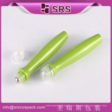 SRS Venta al por mayor de China Embalaje vacío para rodar con tapa de tripulación, única forma de botellas de 15 ml verde con bola de metal