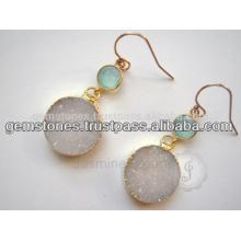 Oro plateado pendiente de piedras preciosas 925 pendientes de plata de ley