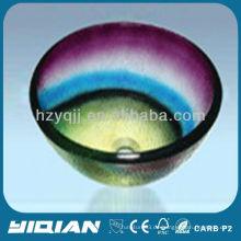 Bunte moderne Design Runde Typ Hangzhou Glas Waschbecken Schiff