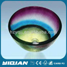 Coloré Design moderne Round Type Hangzhou Glass Sink Vessel