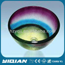 Colorful Modern Design Round Type Hangzhou Glass Sink Vessel