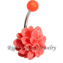 316L Steel Bar Resin Orange 16G Belly Button Rings