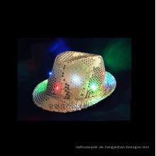 LED Flashing Fedora Pailletten Hut Neon Farbe
