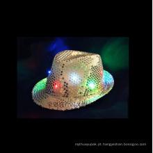LED piscando Fedora lantejoulas chapéu néon cor