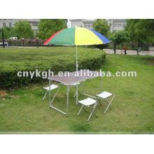 Aluminum table with beach umbrella hole