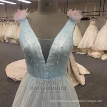 Vestido de noche azul claro de la línea al por mayor de la fábrica 2017