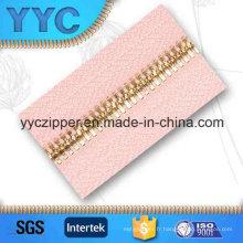 Dents à double point Long Metal Gold Zipper for Garments Textile
