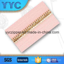 Double Point Teeth Long Metal Gold Zipper for Garments Textile
