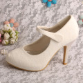Off White Bridal Shoes Lace Heels Closed Toe