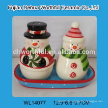 2016 christmas decoration ceramic salt and pepper container in snowman shape
