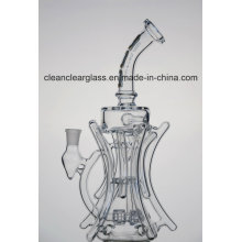 Wholesale Ccg Self-Branded Creative Glass Water Pipe Glass Recycler with Double Tyre Perc