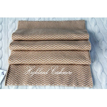 Cashmere Knitted Scarf with Jacquard Herringbone Pattern Ckjs1102