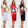 European Style Plain Color Mid-calf Slim-line Deer Penguin Father Christmas Print Women Clothing Dress