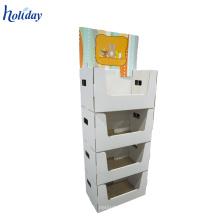 Holiday 3 estantes promocional de cartón estante de piso de cartón mostrando unidades al por mayor