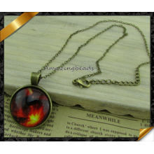 Hot Women Fashion Time Gem Cabochon Round Pendant Necklace (FN037)